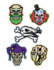Mascot icon illustration set of skull heads and bones of a bearded hipster skull, whiteface clown skull, vulture or condor with crossed bones, court jester or joker skull and saber-toothed cat  viewed