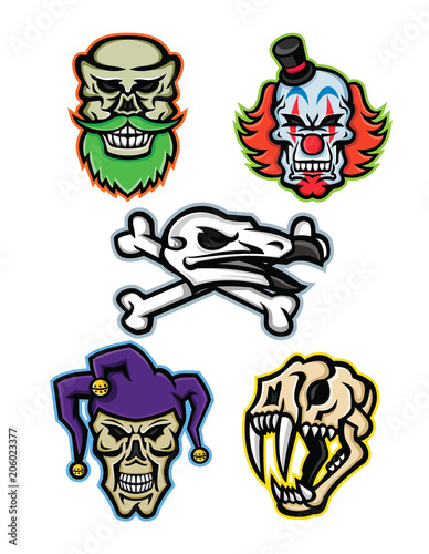 73f9d5f2e7 Mascot icon illustration set of skull heads and bones of a bearded hipster  skull, whiteface clown skull, vulture or condor with crossed bones, court  jester ...