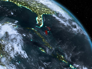 Bahamas at night from orbit
