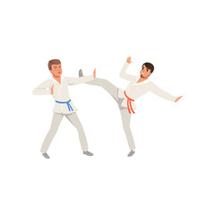 Two young men in kimonos training karate blows. Martial art. Active people. Flat vector design