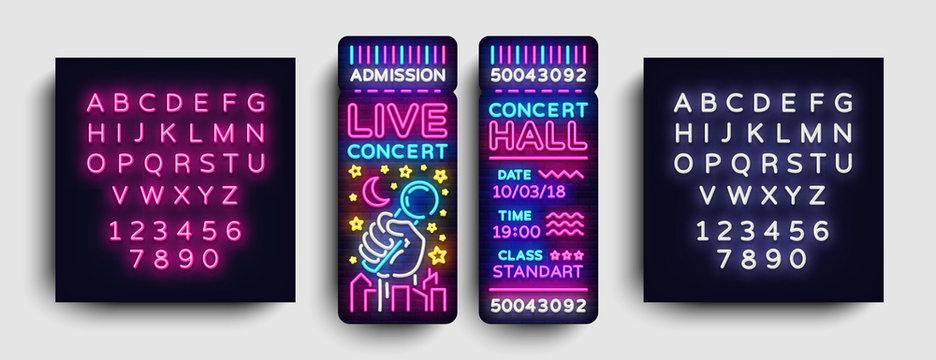 Concert Ticket Neon Vector. Concert Ticket Modern Trend Design, Invitation to Live Music, Neon Style, Light banner, Bright Festival advertisement, invitation concert. Vector. Editing text neon sign