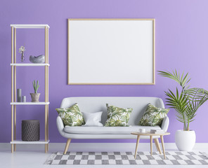 Mock up poster frame in modern minimalist flat, 3D render
