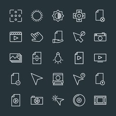 Modern Simple Set of video, photos, cursors, files Vector outline Icons. Contains such Icons as dark, movie, click,  background,  sky,  gift and more on dark background. Fully Editable. Pixel Perfect.