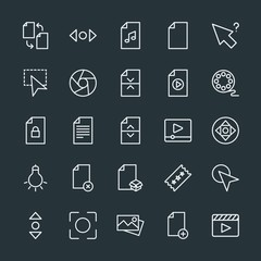 Modern Simple Set of video, photos, cursors, files Vector outline Icons. Contains such Icons as horizontal, file, music,  web, business, add and more on dark background. Fully Editable. Pixel Perfect.