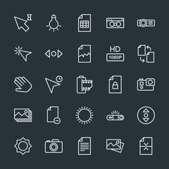 Modern Simple Set of video, photos, cursors, files Vector outline Icons. Contains such Icons as  file,  shot,  office,  scroll,  cursor and more on dark background. Fully Editable. Pixel Perfect.