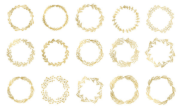 Set of 15 Handdrawn ink painted gold floral wreaths and laurels. Vintage vector golden elements for wedding, holiday and greeting cards, web, prind scrapbooking design and other.
