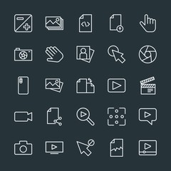 Modern Simple Set of video, photos, cursors, files Vector outline Icons. Contains such Icons as  file,  concept,  finger,  document, upload and more on dark background. Fully Editable. Pixel Perfect.