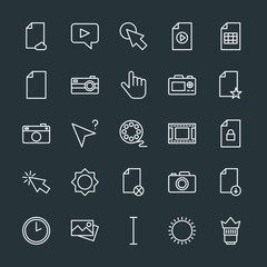 Modern Simple Set of video, photos, cursors, files Vector outline Icons. Contains such Icons as download,  cursor,  video,  picture,  hour and more on dark background. Fully Editable. Pixel Perfect.