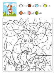 Vector illustration. Coloring by numbers, education game for children. Lovely pet dog.