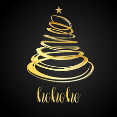 Christmas tree from red spiral with star on top. Christmas card design. Holiday vector background.