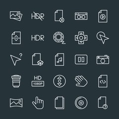 Modern Simple Set of video, photos, cursors, files Vector outline Icons. Contains such Icons as  system,  disk, business,  panoramic,  arrow and more on dark background. Fully Editable. Pixel Perfect.