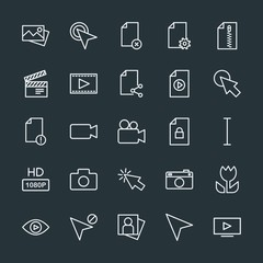 Modern Simple Set of video, photos, cursors, files Vector outline Icons. Contains such Icons as video, cursor,  file,  picture,  hand,  lens and more on dark background. Fully Editable. Pixel Perfect.