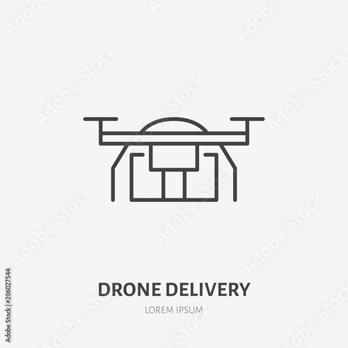Drone flat line icon  Air package delivery sign  Thin linear