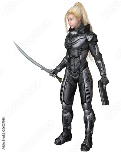 """Future Soldier, Blonde Female, Standing with Sword and Pistol - science fiction illustration"" Stock photo and royalty-free images on Fotolia.com - Pic 206027938"