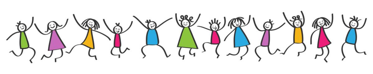 Kinder springen hoch, Mädchen und Jungen mit bunter Kleidung, Banner, Strichfiguren