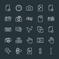Modern Simple Set of video, photos, cursors, files Vector outline Icons. Contains such Icons as hand,  confidential,  video,  entertainment and more on dark background. Fully Editable. Pixel Perfect.