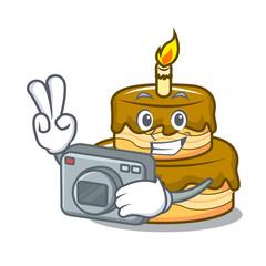 Photographer birthday cake mascot cartoon