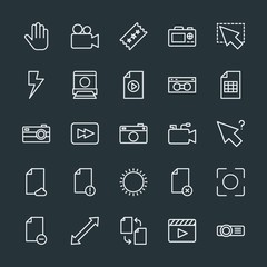 Modern Simple Set of video, photos, cursors, files Vector outline Icons. Contains such Icons as projector,  double,  lens,  media,  video and more on dark background. Fully Editable. Pixel Perfect.