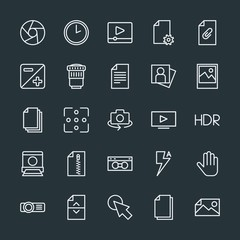 Modern Simple Set of video, photos, cursors, files Vector outline Icons. Contains such Icons as  computer,  hour,  movie,  camera,  sign and more on dark background. Fully Editable. Pixel Perfect.