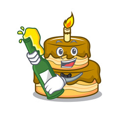 With beer birthday cake mascot cartoon
