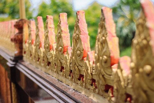 Guardrail in Thailand temple closeup part of architecture