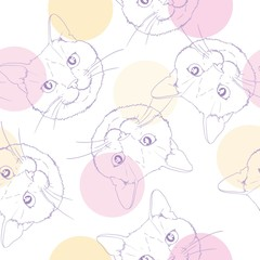 Seamless pattern with cats. Background with gray, white and ginger kittens