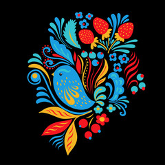 Bright embroidery with flowers, berrias and bird. Tshirt or tote bag ethnic fashion design