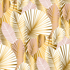 gold and pale rose abstract leaves seamless pattern