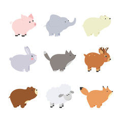 Big set isolated animals. Vector collection funny animals. Cute animals forest, farm, domestic, polar in cartoon style. Pig, elephant, bear, rabbit, fox, wolf, lamb, deer.