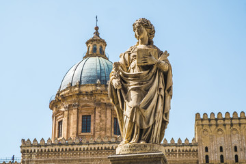 Famous cathedral church of Santa Rosalia and statues of Sant'Oliva in Palermo, Sicily island in Italy.