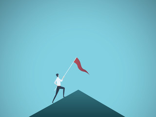Business leader vector concept with businessman planting flag on top of mountain. Symbol of success, achievement, victory, top career and leadership.