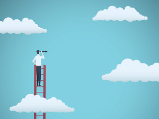 Business vision vector concept with business man standing on top of ladder above clouds. Symbol of new opportunities, career ladder, visionary, success, promotion.