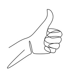One line drawing of hand showing great sign. Continuous line finger up. Hand-drawn vector illustration of linear like gesture.