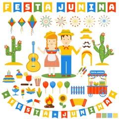 Festa junina icons set. Flat vector cartoon illustration. Objects isolated on a white background.
