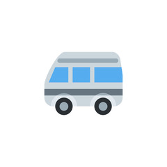 Minibus, micro bus, van, truck, car automobile transportation vector illustration flat icon symbol cartoon style