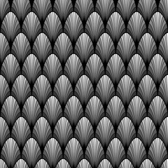 Black and white Art deco palm leaf geometric seamless pattern, vector