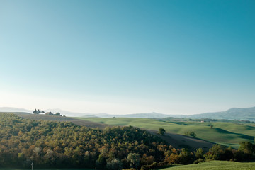 Panoramic view of Tuscany. Travel around Italy