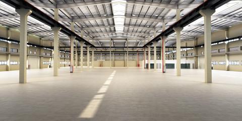 empty Hangar delivery warehouse 3d render image