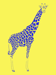 Vector illustration of a blue silhouette giraffe. Print, emblem of zoo, logo