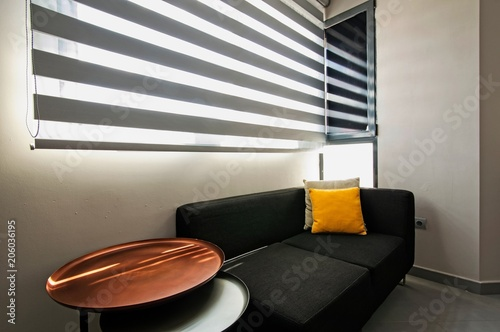 Sofa And Table Near Window Stock Photo And Royalty Free Images On