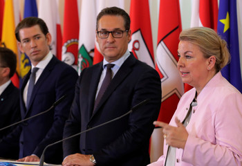 Austria's Chancellor Kurz, Vice Chancellor Strache and Social Minister Hartinger-Klein address a news conference in Vienna