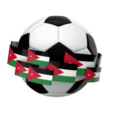 Soccer football with Jordan flag against a plain white background. 3D Rendering