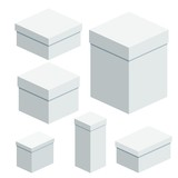 298d46f14f1 Set of packing white boxes. Flat vector cartoon illustration. Objects  isolated on a white