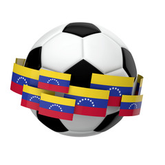 Soccer football with Venezuela flag against a plain white background. 3D Rendering