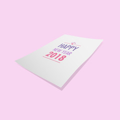 Happy New year 2018 in paper and pastel background vector.New year card design illustration