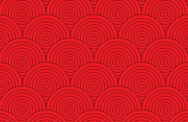 Abstract red circle pattern wallpaper background vector illustration.Retro art pattern background