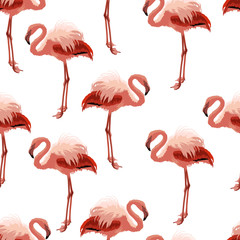 Canvas Prints Seamless pattern with pink flamingo.