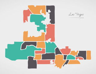 Las Vegas Nevada Map with neighborhoods and modern round shapes