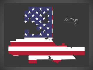 Las Vegas Nevada map with American national flag illustration