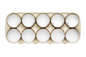 packing, box of white eggs isolated on white background, top view, 10 pieces